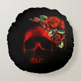 Human skull and roses round pillow