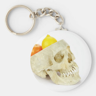 Human skull as fruit scale basic round button keychain
