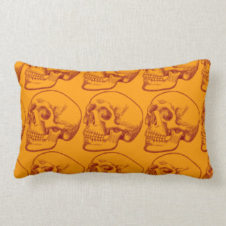 Human Skull Drawing in Autumn Colors Throw Pillows