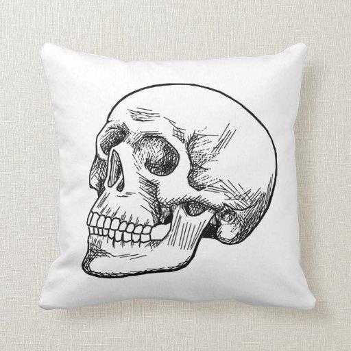 Human Skull Etching Throw Pillows