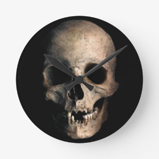 Human Skull Head Face Round Clock