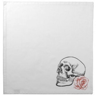 Human Skull With Red Rose Line Drawing Napkin