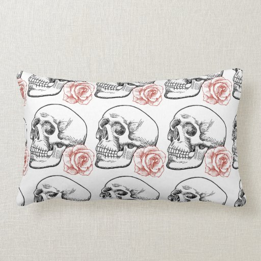Human Skull With Red Rose Line Drawing Throw Pillow