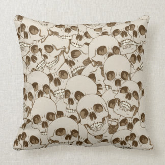 Human skulls background throw pillow