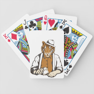 human tiger with playing cards