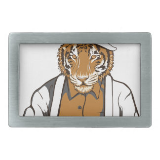 human tiger with playing cards belt buckles