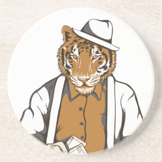 human tiger with playing cards coaster