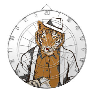 human tiger with playing cards dartboard