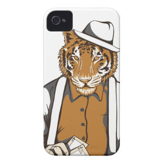human tiger with playing cards iPhone 4 cover