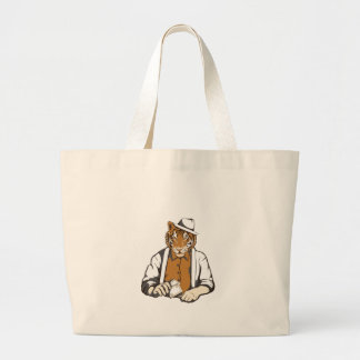 human tiger with playing cards large tote bag