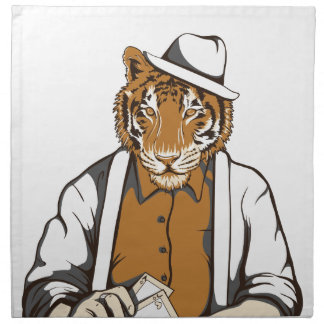 human tiger with playing cards napkin