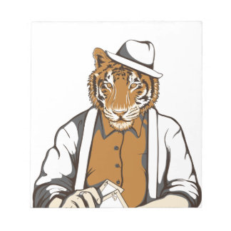 human tiger with playing cards notepads