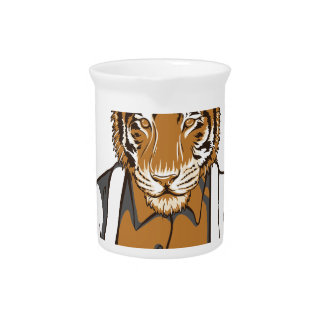 human tiger with playing cards pitcher