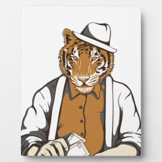 human tiger with playing cards plaque