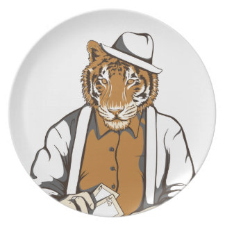 human tiger with playing cards plate