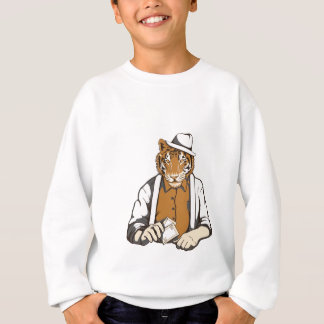 human tiger with playing cards sweatshirt
