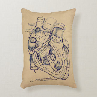 Human Vintage Anatomy Heart old paper texture Accent Pillow