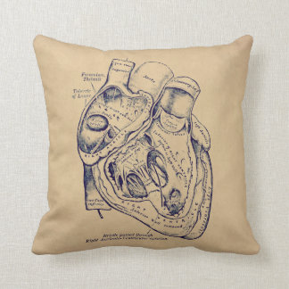 Human Vintage Anatomy Heart old paper texture Pillow
