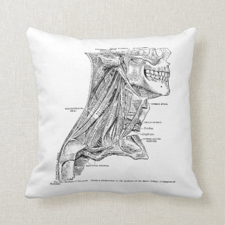 Human Vintage Anatomy Muscles of the Neck Throw Pillow