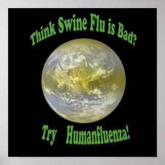 Humanfluenza shirt black type poster
