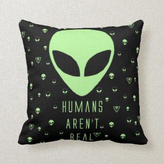 Humans Aren't Real Throw Pillows