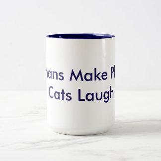 Humans Make Plans; Cats Laugh Two-Tone Coffee Mug