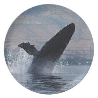 humback whale breaching plate