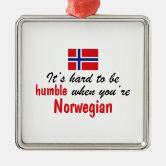 Humble Norwegian Silver-Colored Square Ornament