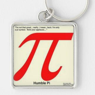 Humble Pi R Square Funny Silver-Colored Square Keychain