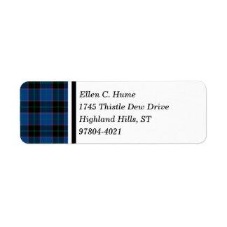 Hume Clan Royal Blue and Black Scottish Tartan