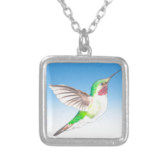 Hummer Blue Glass Silver Plated Necklace