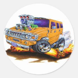 Hummer H2 Orange Truck Classic Round Sticker