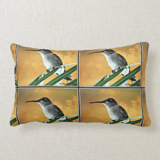 Hummer in Golden Sky Poly Throw Pillow
