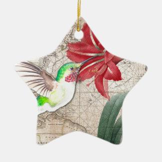Hummer Map ammaryllis II Ceramic Ornament
