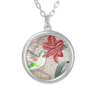 Hummer Map ammaryllis II Silver Plated Necklace