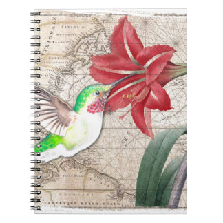 Hummer Map ammaryllis II Spiral Notebook