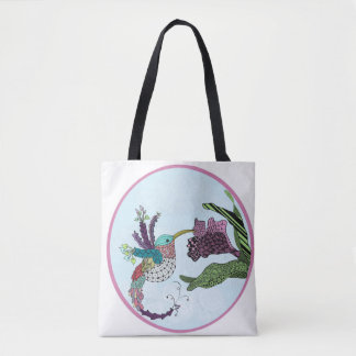 Humming bird and flower tote bag