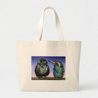 Humming bird and raven large tote bag