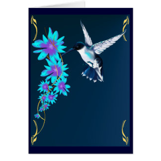 Humming Bird In Blue Card