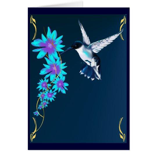 Humming Bird In Blue Card