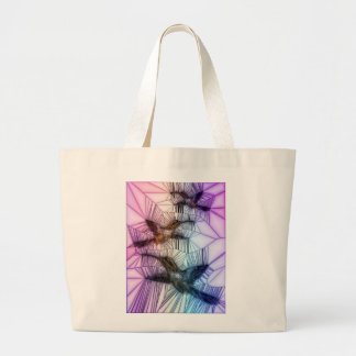 Humming Bird Stained Glass Design Large Tote Bag