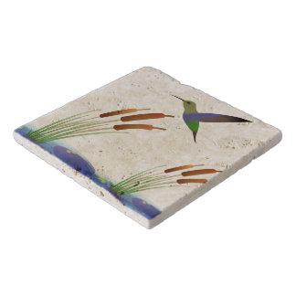 Humming Bird Travertine Stone Trivet