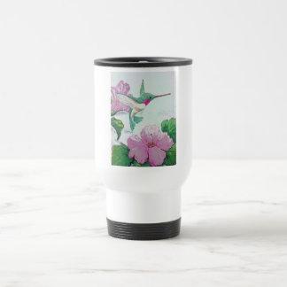 Humming bird wild pink flower hibiscus travel mug