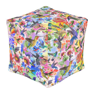 Humming Birds and Flowers Pouf