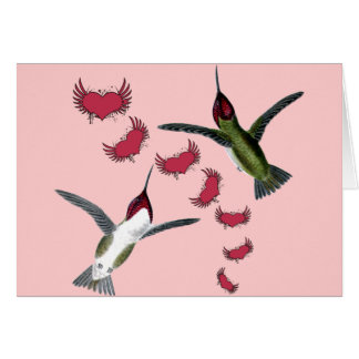 Humming Birds Grunge Hearts with Wings Card