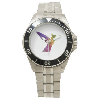 Hummingbird 02 in watercolor wrist watch