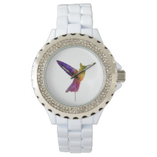 Hummingbird 02 in watercolor wristwatch