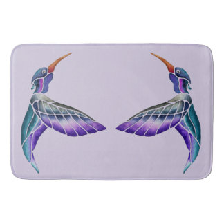 Hummingbird Abstract Watercolor Bath Mat