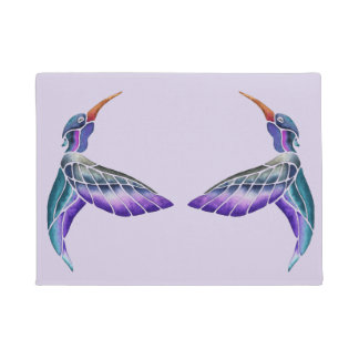 Hummingbird Abstract Watercolor Doormat