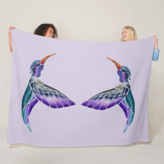 Hummingbird Abstract Watercolor Fleece Blanket